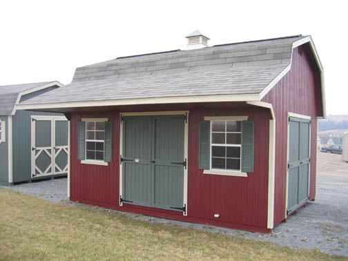 Wood Gambrel Classic Small Barn with Overhang 12'x12' to 14'x32'